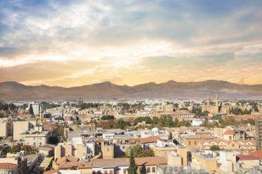 """Картина, постер, плакат, фотообои """"красивый вид на турецкую часть города и флаг в никосии, кипр """", артикул 180926330"""