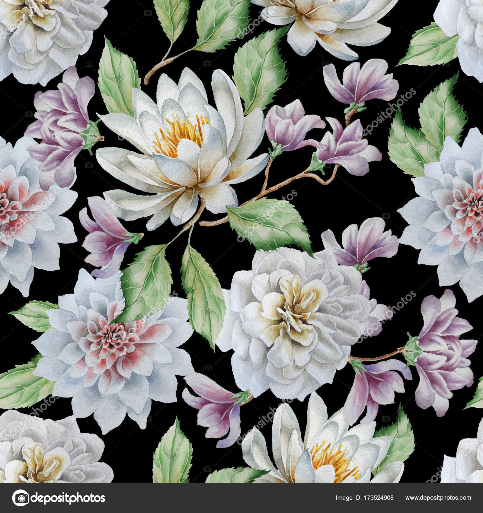 Seamless pattern with flowers lily rose watercolor stock photo seamless pattern with flowers lily rose watercolor hand drawn photo by rednex izmirmasajfo
