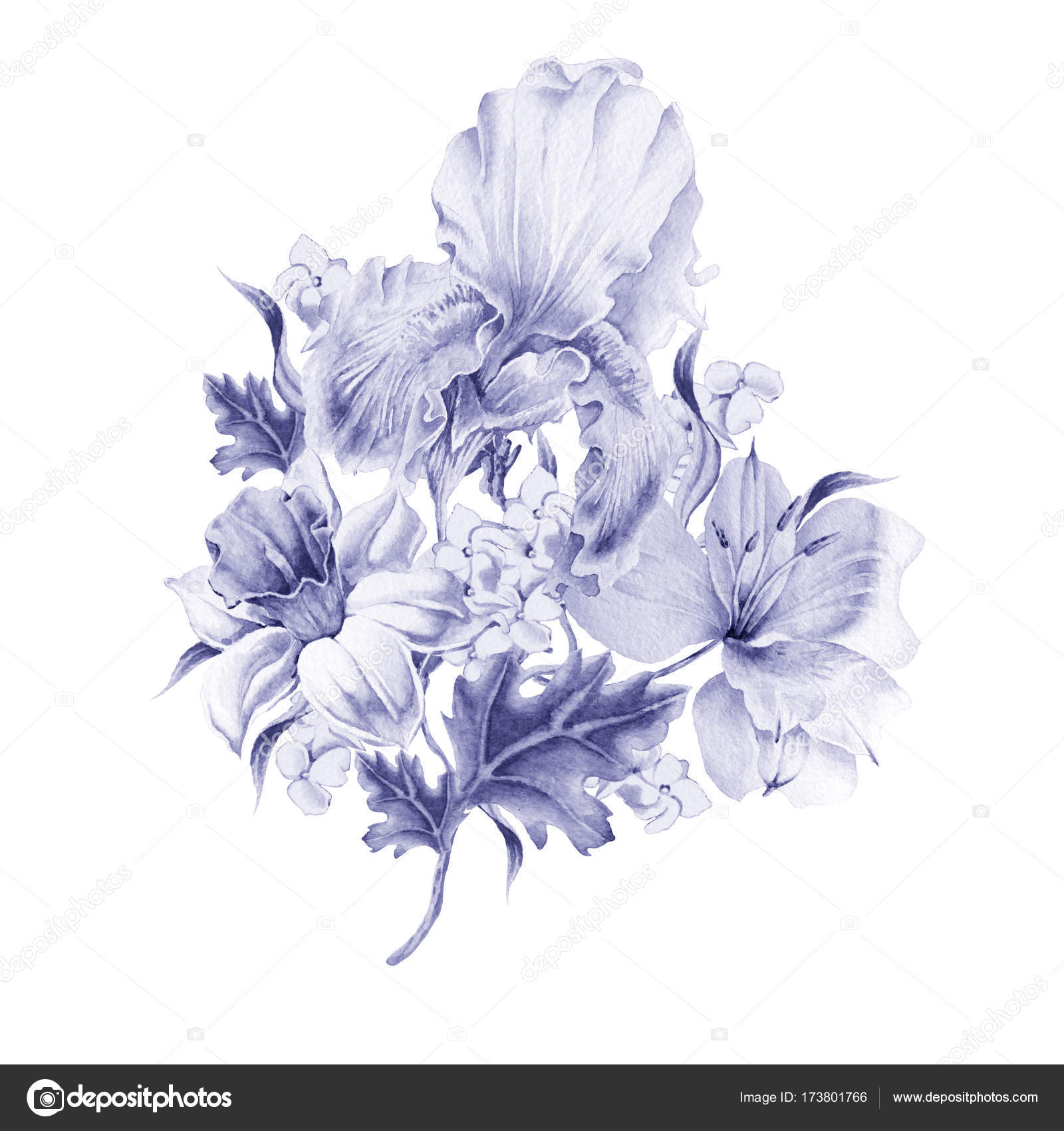Watercolor Bouquet With Flowers Narcissus Iris Lily Stock
