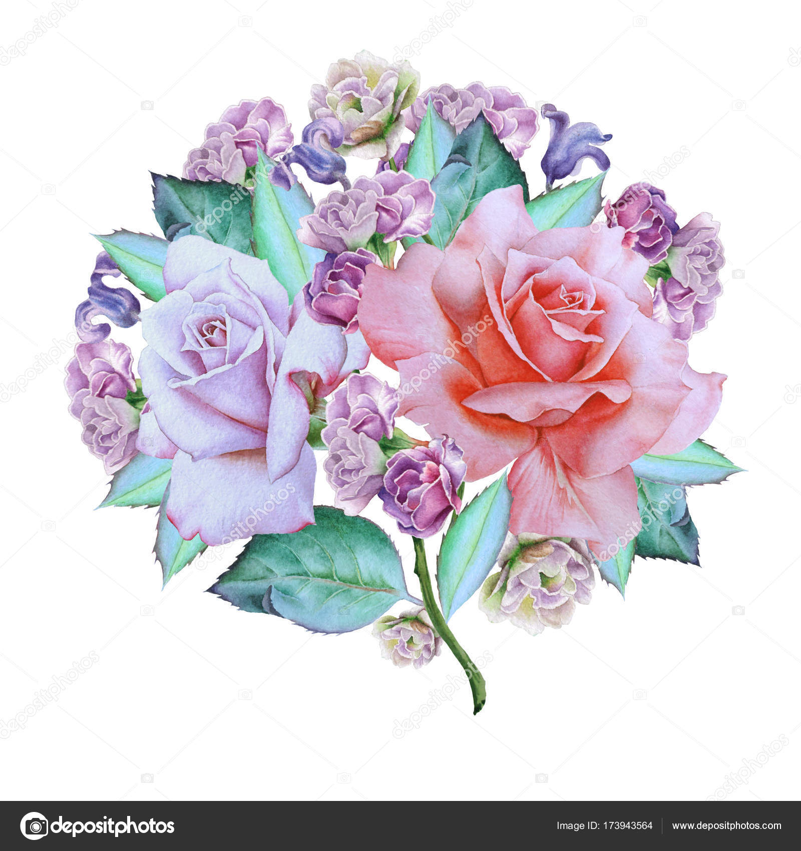 Watercolor bouquet with flowers rose hyacinth illustration watercolor bouquet with flowers rose hyacinth illustration hand drawn photo by rednex izmirmasajfo