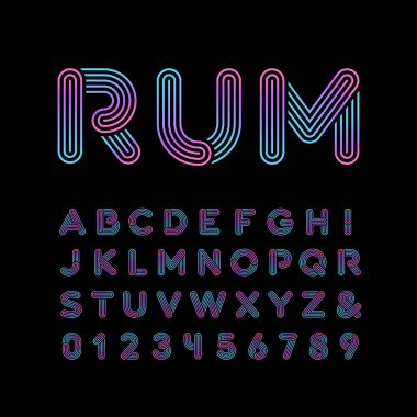 Neon font. Vector alphabet with neon stripes effect letters and