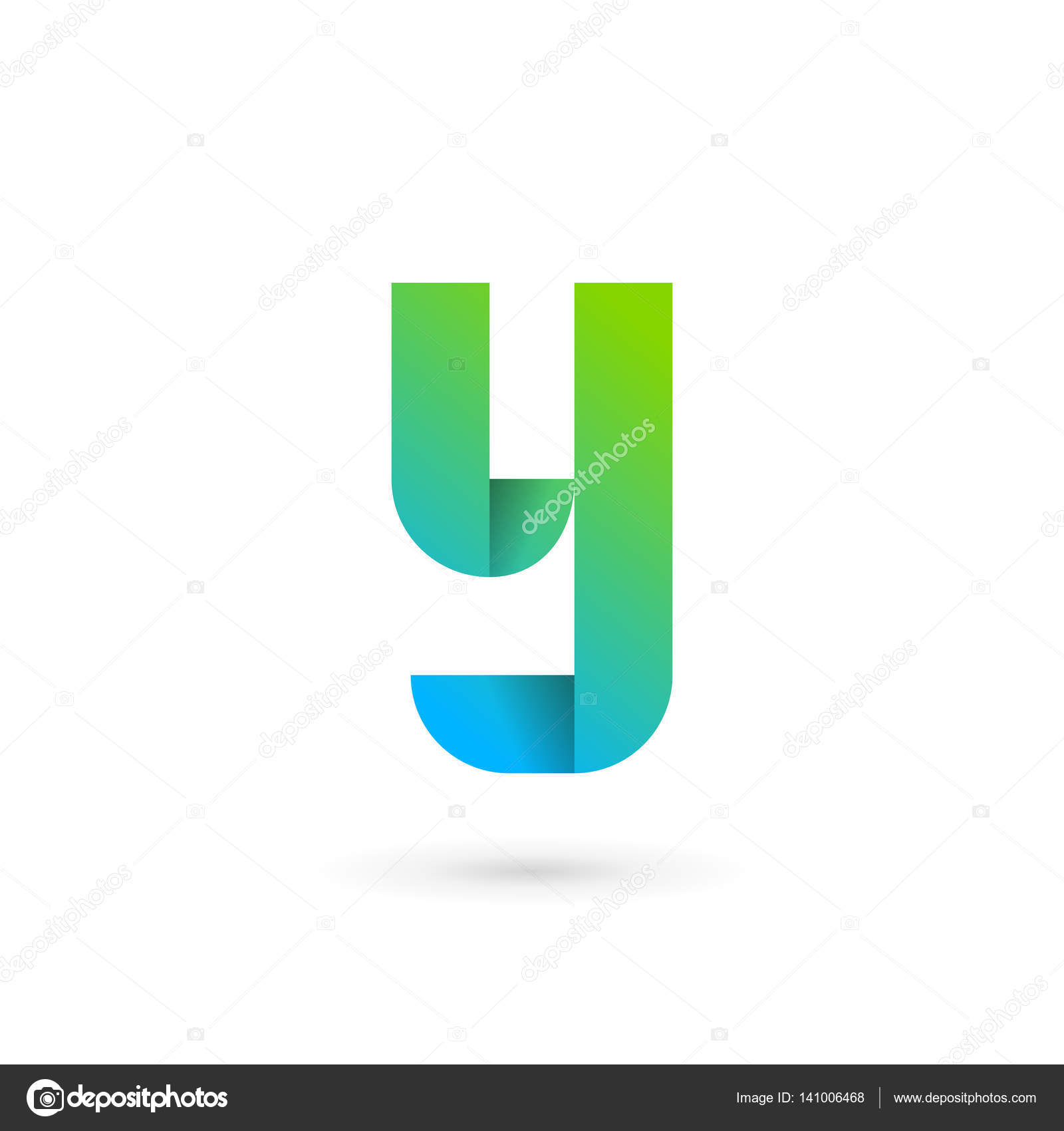 letter y ribbon logo icon design template elements stock vector