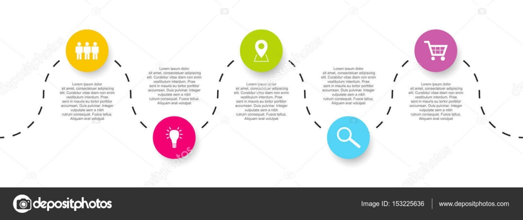five step vector timeline infographic template with icons stock