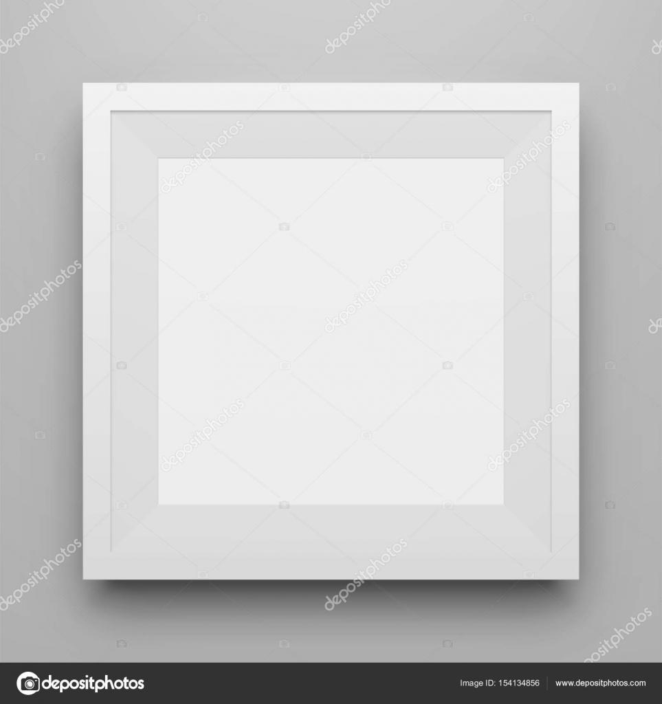Maqueta de marco cuadro cuadrado blanco con sombra — Archivo ...