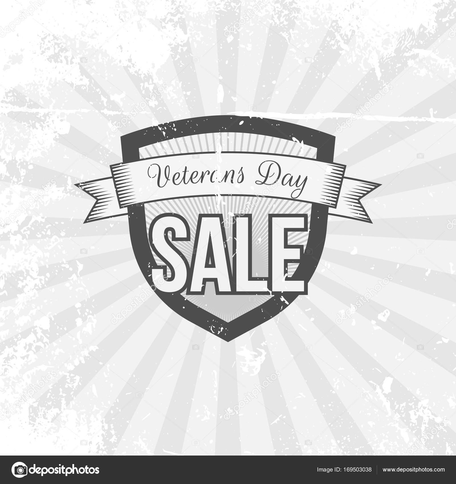 Escudo de vintage con texto de venta del día de los veteranos ...