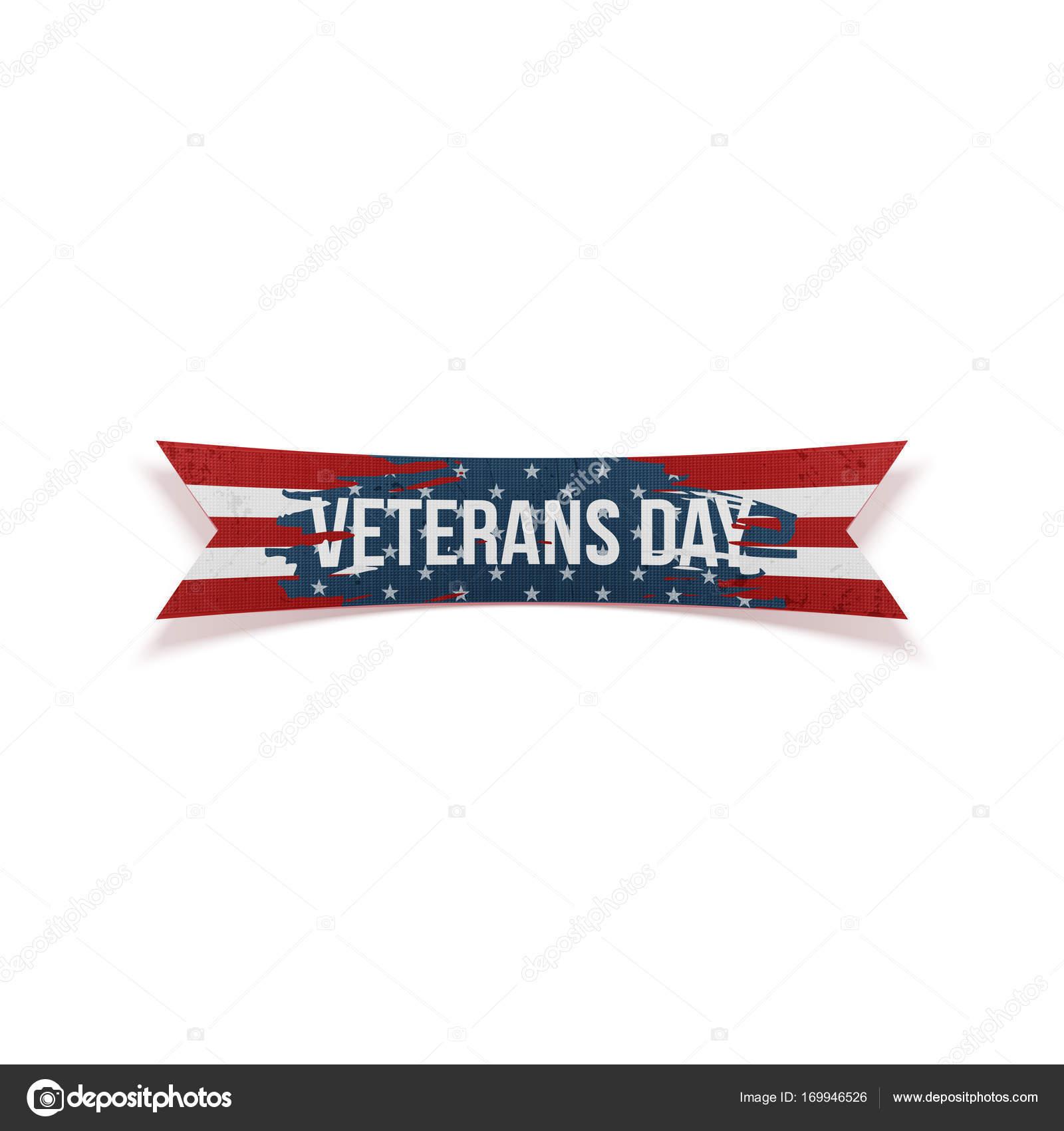 Feliz día de los veteranos vector doblada de la cinta — Vector de ...