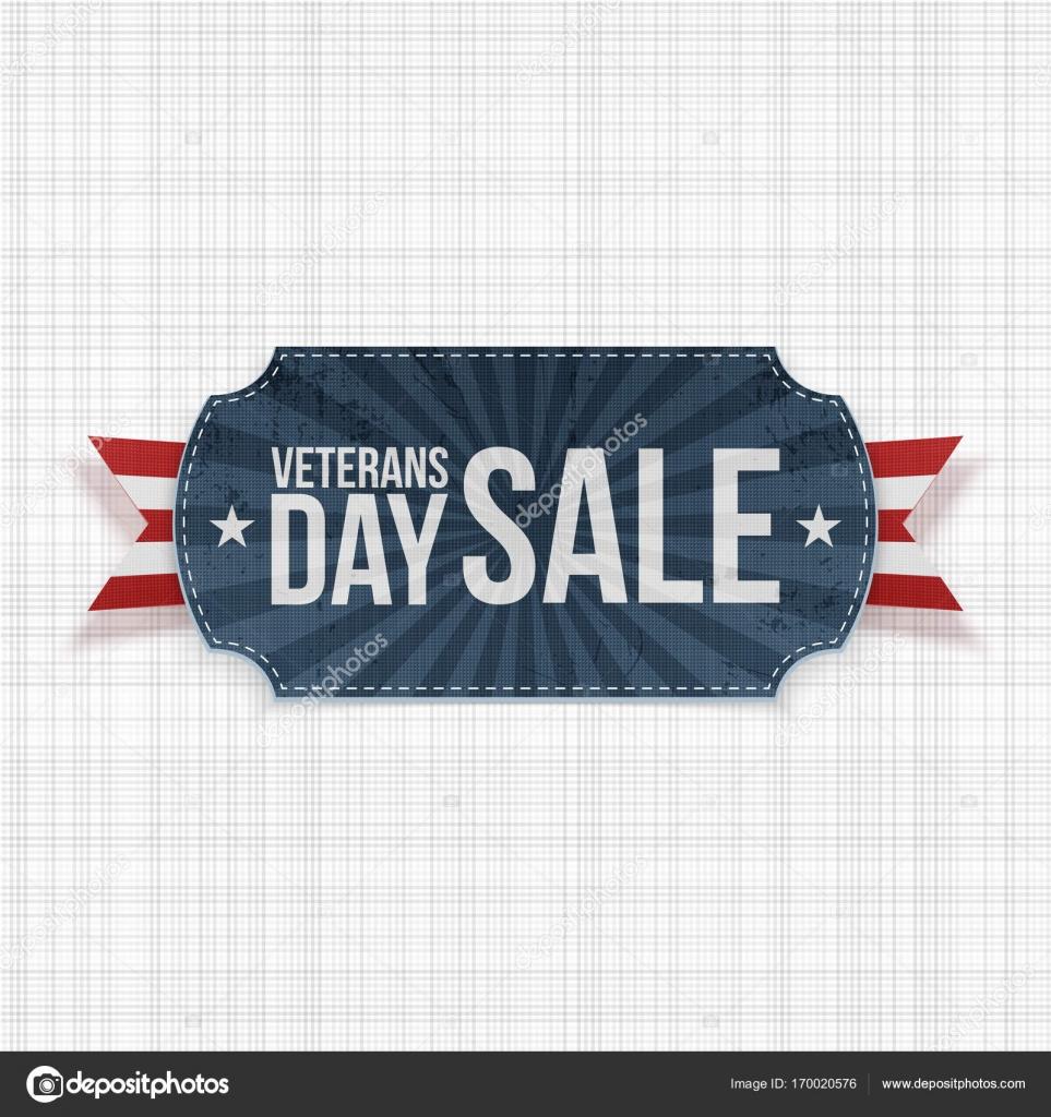Signo venta de día de los veteranos azul con rayas de la cinta ...