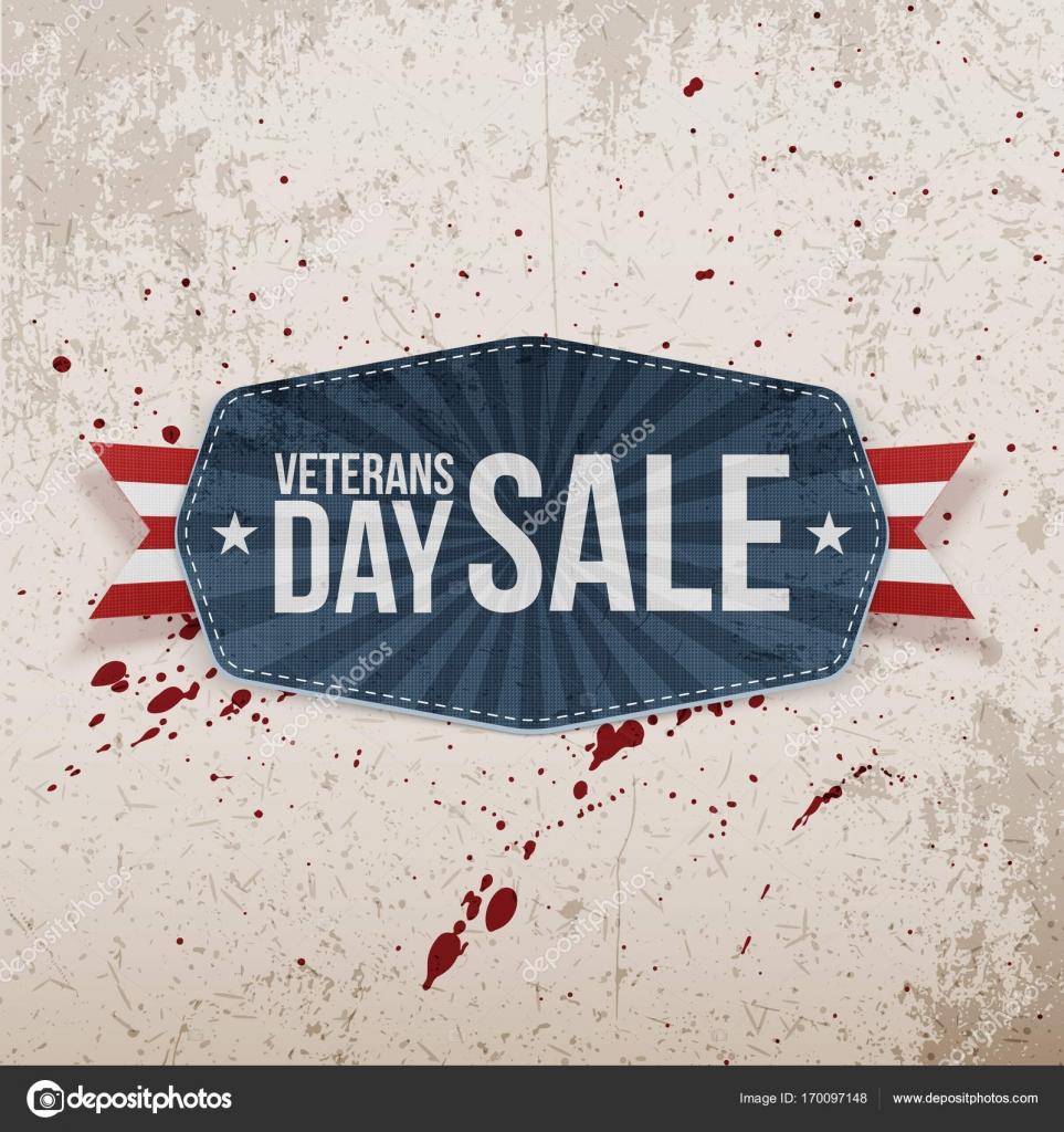 Venta de día de los veteranos saludo bandera y cinta — Vector de ...