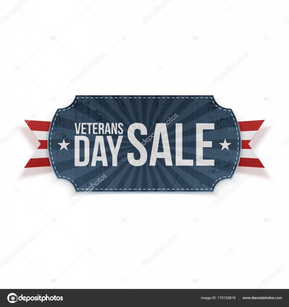 Etiqueta de venta de día de los veteranos azul con cinta — Archivo ...