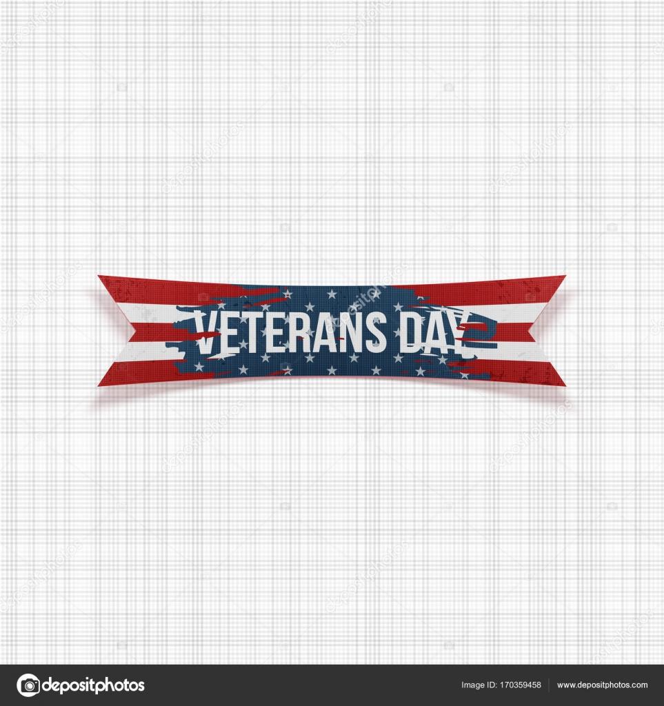 Feliz día de los veteranos vector cinta festiva — Vector de stock ...