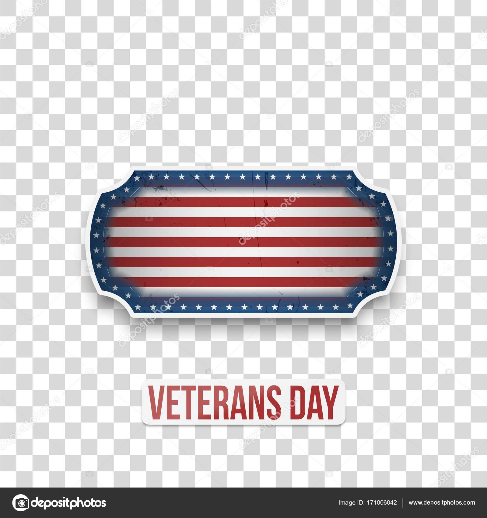Día de los veteranos saludo insignia con texto — Vector de stock ...