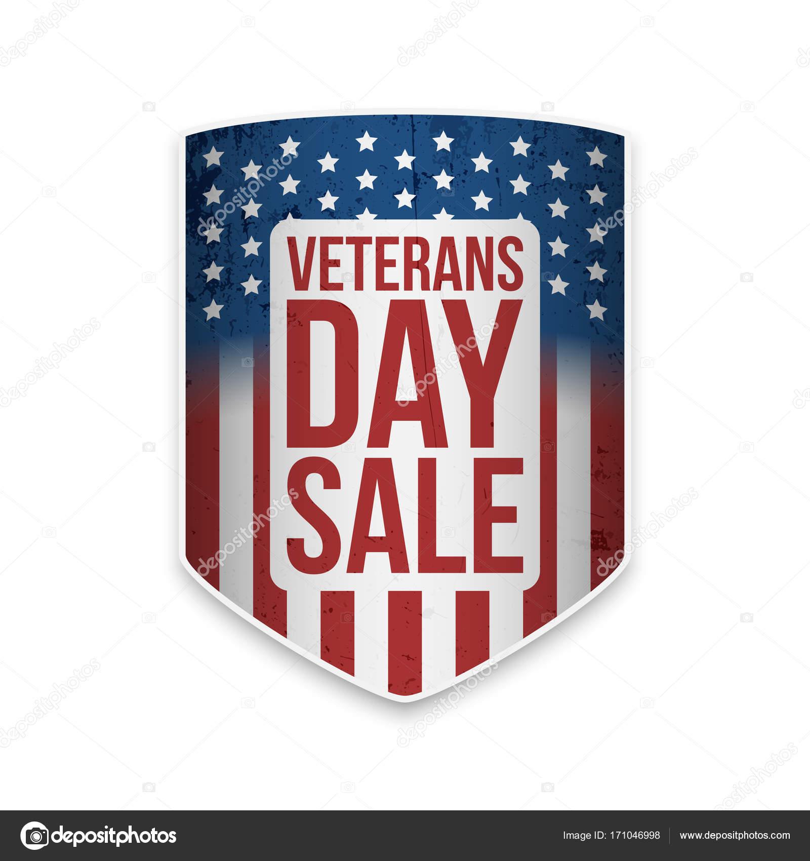 Venta de día de los veteranos de la bandera con el texto — Vector de ...