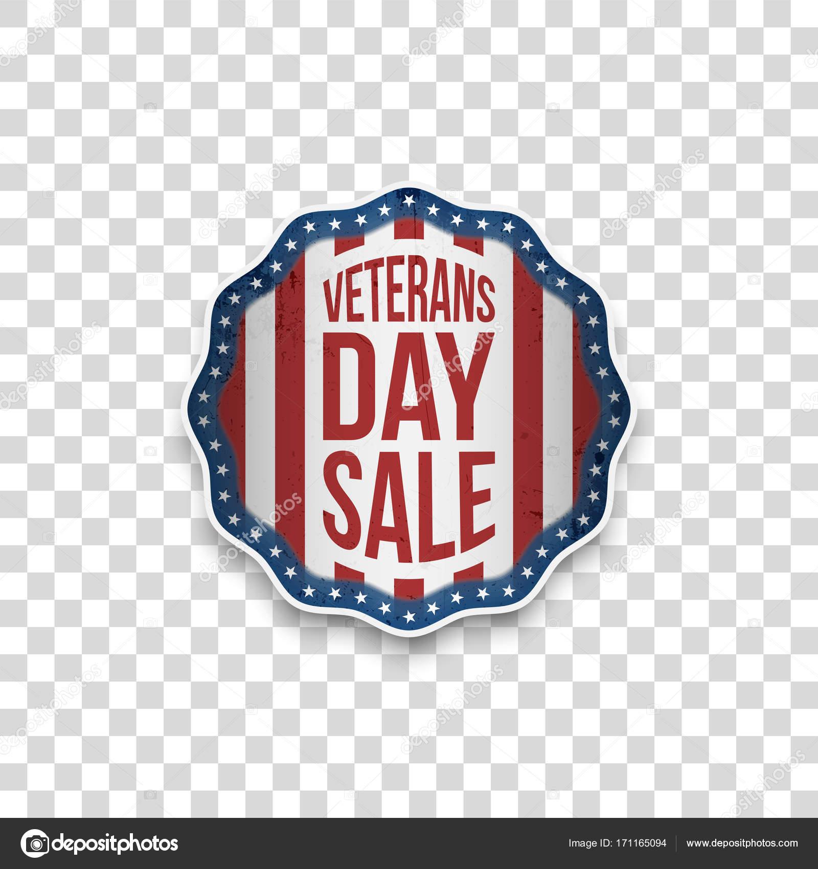 Venta día del veterano emblema con el texto del saludo — Vector de ...