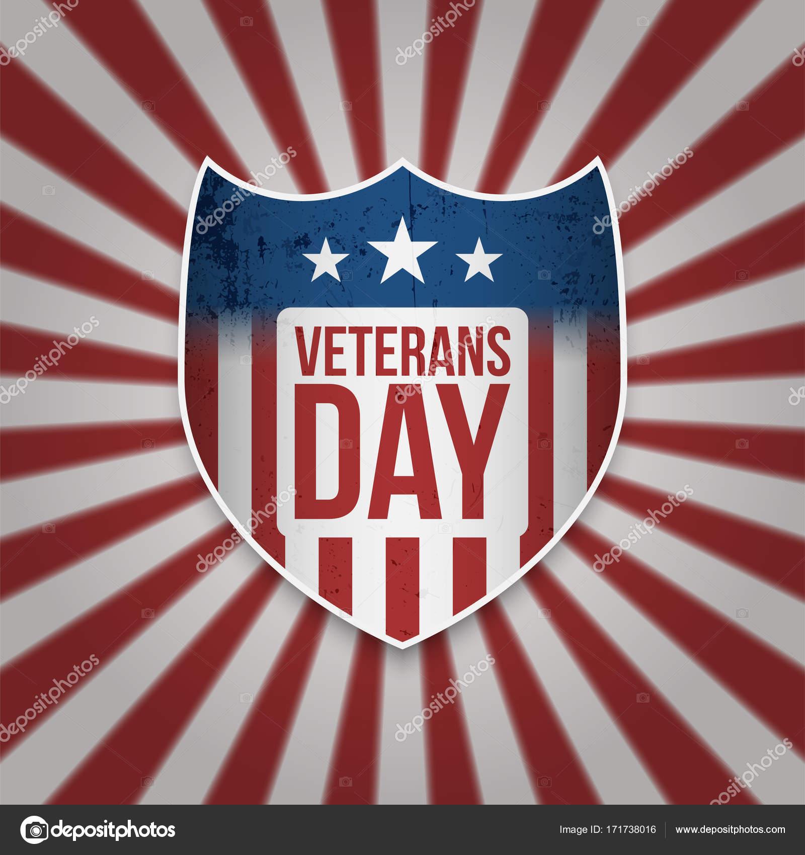 Escudo de vintage con texto de día de los veteranos — Vector de ...