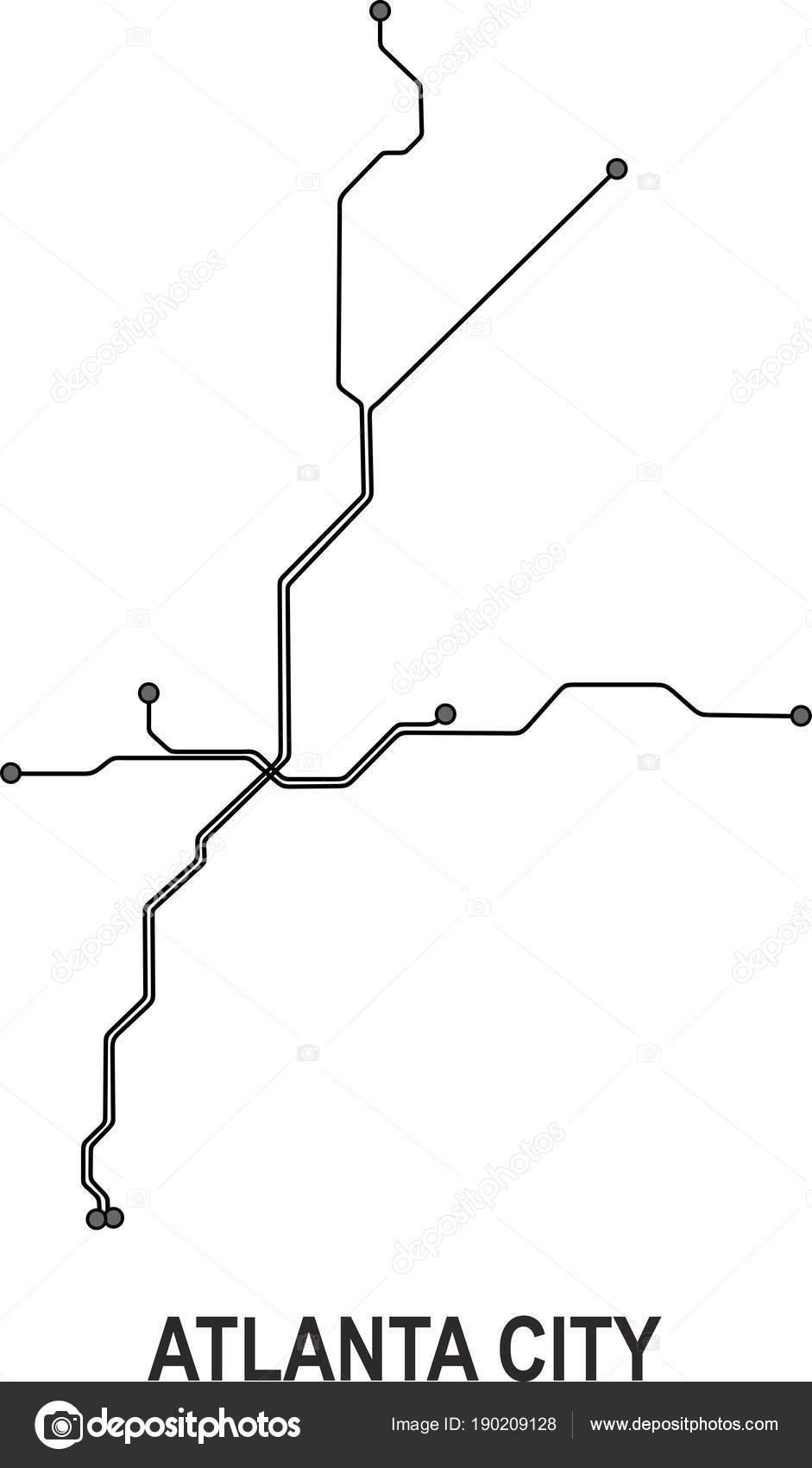 Atlanta Subway Map Vector File Format Stock Vector C Fishvector