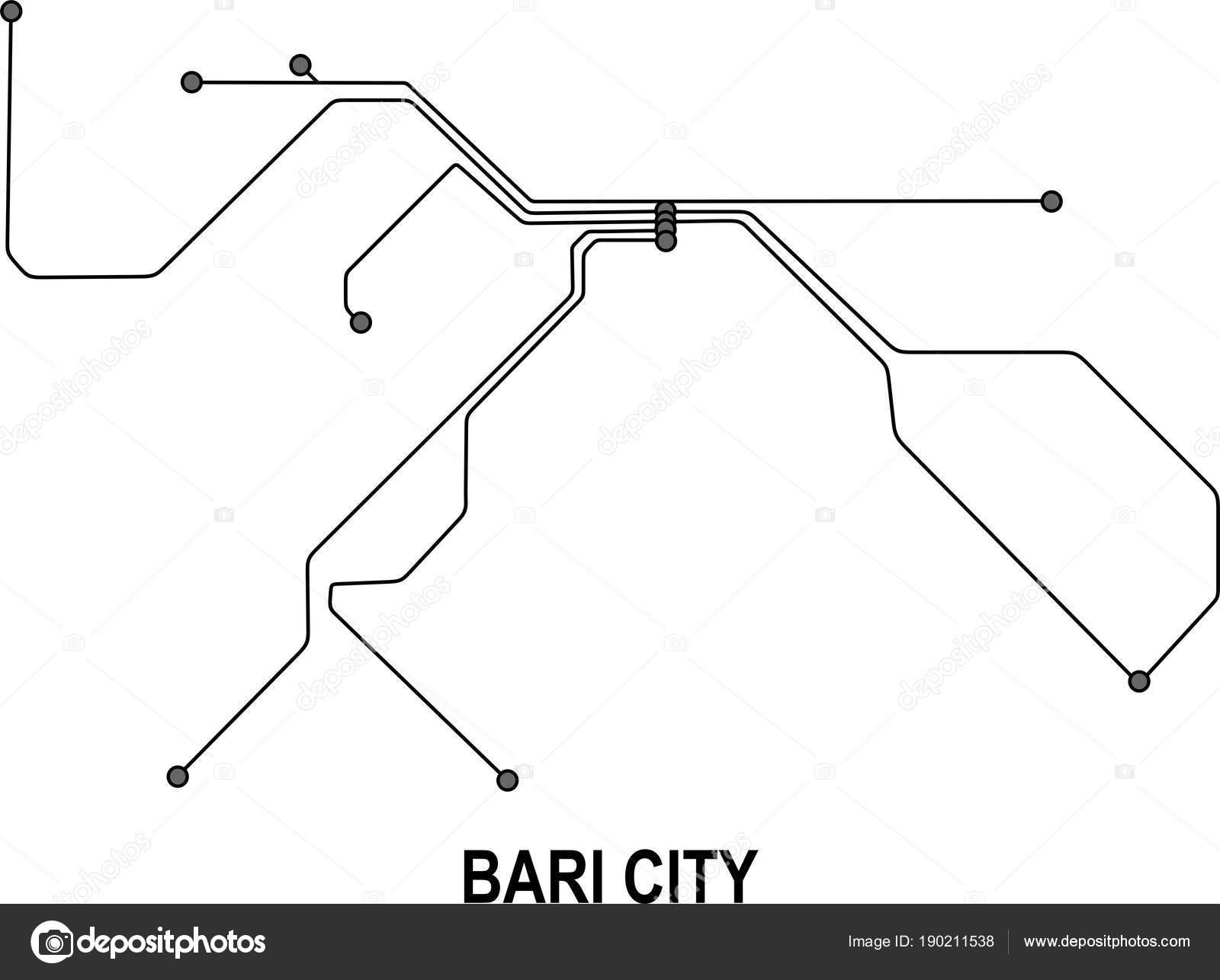 Bari Subway Vector Map File Stock Vector Fishvector 190211538