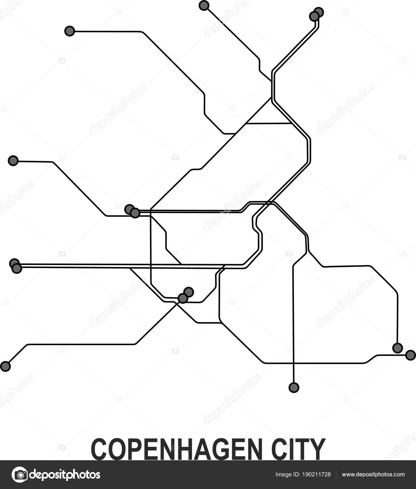 Subway Map Of Kopenhagen.Copenhagen Subway Vector Map File Stock Vector C Fishvector 190211728