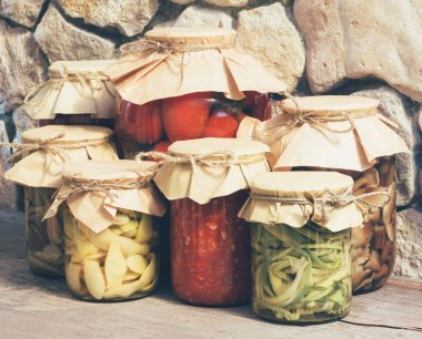homemade rustic vegetable canned food, close-up, tinting photos
