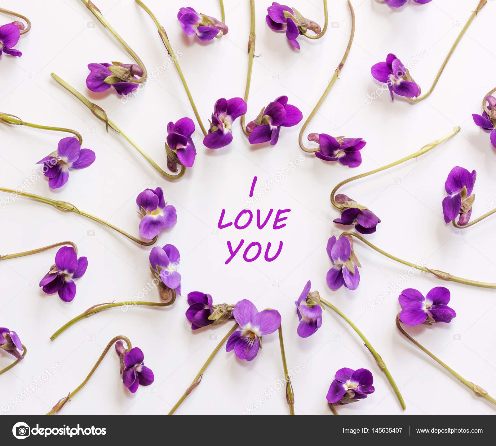 Inscription I love you in a frame of small forest flowers purple on ...