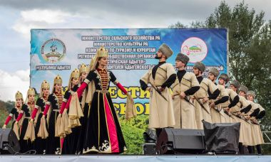 The state academic ensemble of folk dance of Adygeya Nalmes at the festival of Circassian cheese in the Republic of Adygea