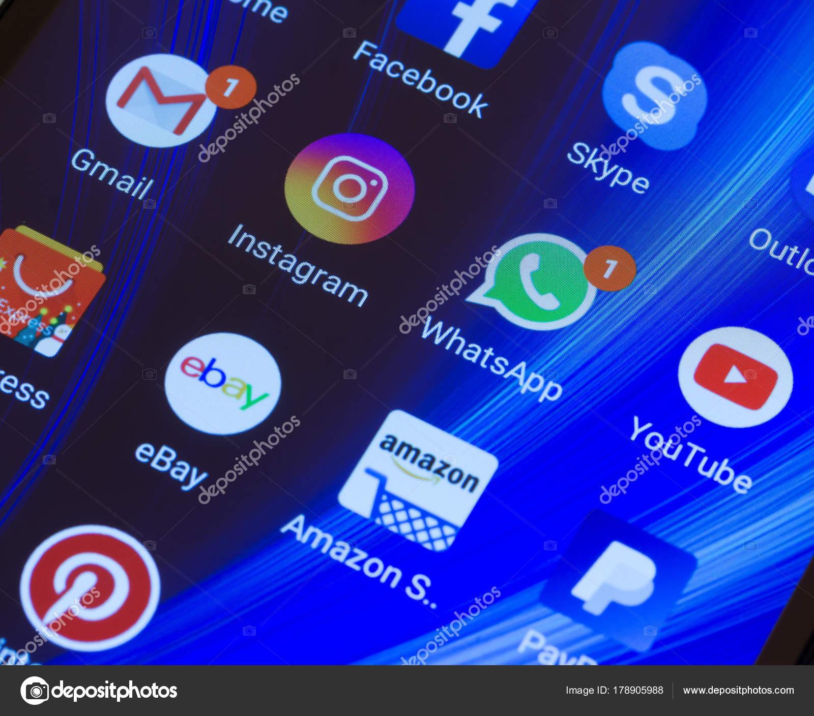 Adygea Russland Januar 2018 Whatsapp Youtube Instagram Facebook ...