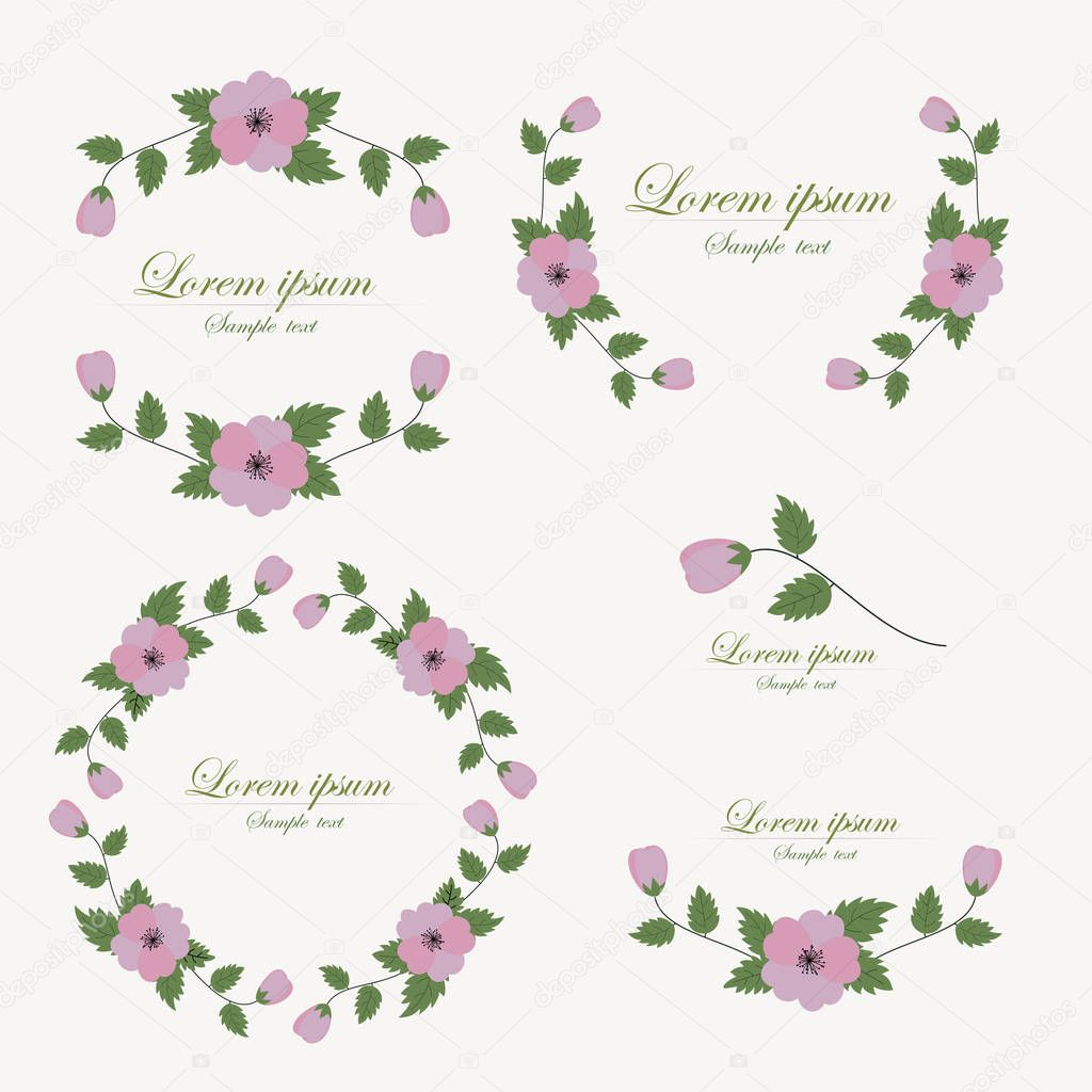 Set of flowers design elements.
