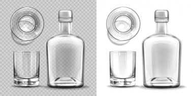 Bottle and shot glass side and top view set. Empty blank flask for alcohol drink design template mockup isolated on transparent and white background. Realistic 3d vector illustration, icon, clip art icon