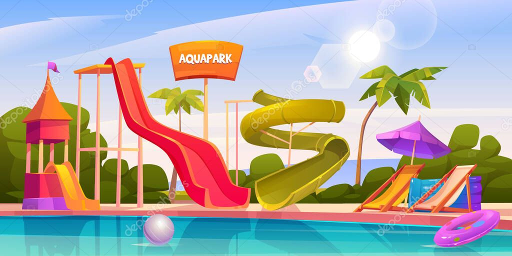 Aqua Park With Water Slides Swimming Pool Palms And Lounger Vector Cartoon Illustration Of Resort Aquapark On Sea Beach With Colorful Spiral Pipe And Small Kids Waterslides Premium Vector In Adobe