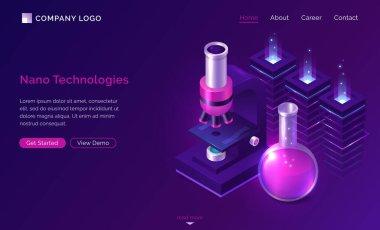 Nano technologies science isometric landing page