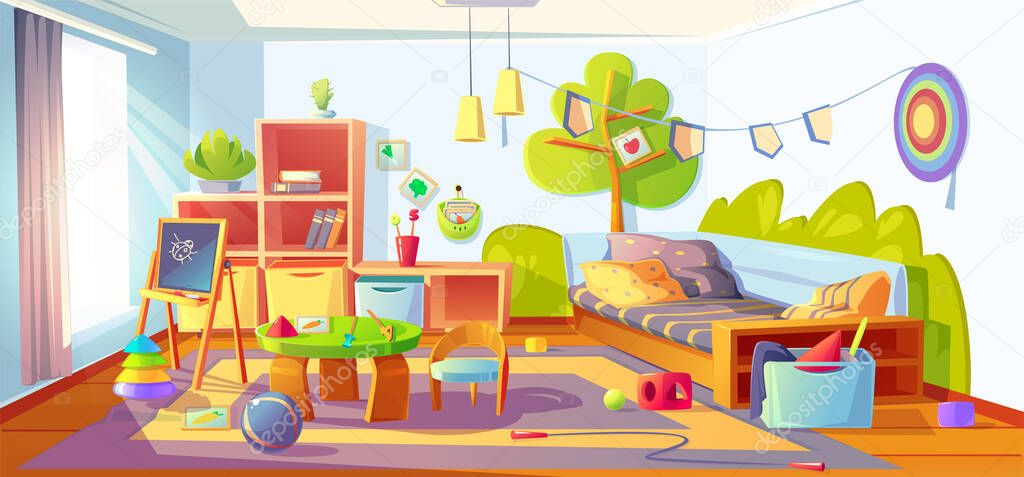 Mess in kids room, messy empty child bedroom interior with unmade bed and scattered toys on carpet. Clutter apartment indoors area with furniture and equipment for games, Cartoon vector illustration stock vector
