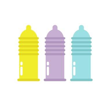 condom flat icon, vector color illustration