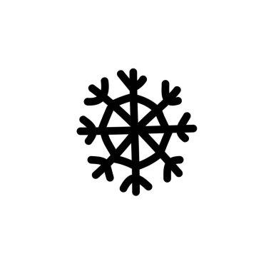 snowflake doodle icon, vector line illustration