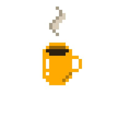 coffee cup pixel art icon, pixel color illustration
