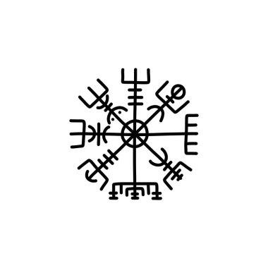 Vegvisir scandinavian symbol doodle icon, vector line illustration icon