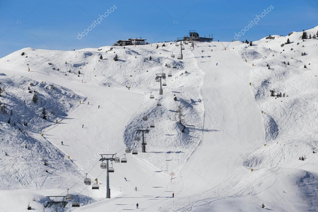 Ski slopes and lifts in skiing place