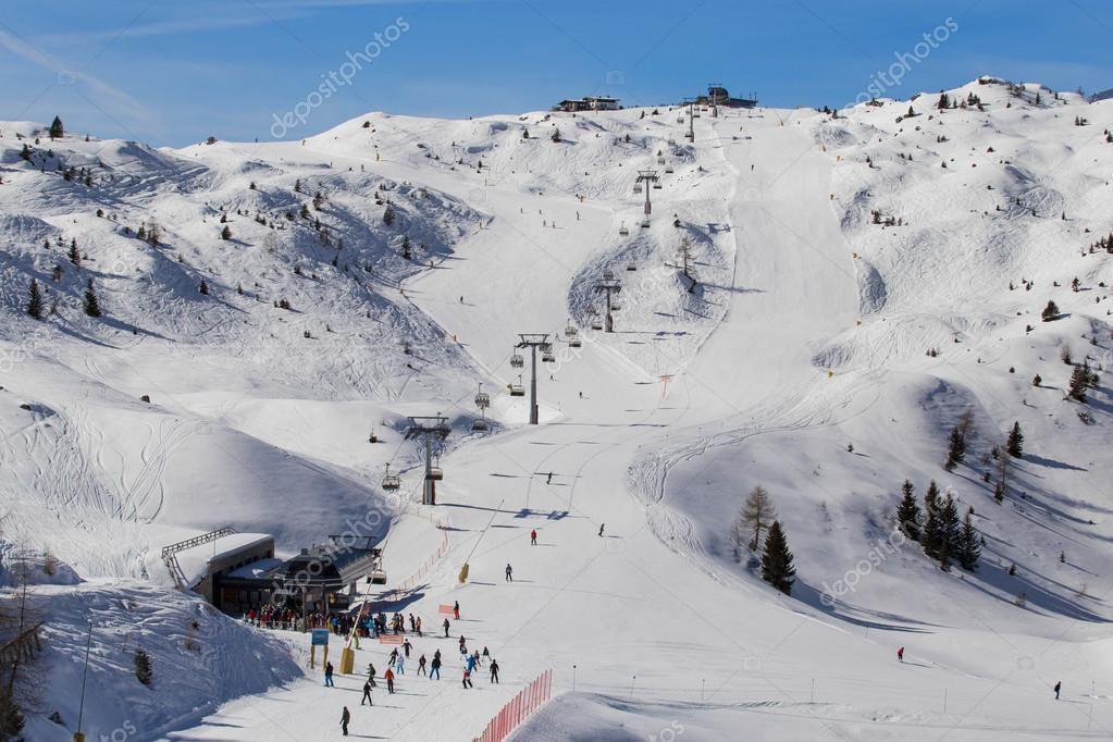 Ski slopes and lifts in skiing resort