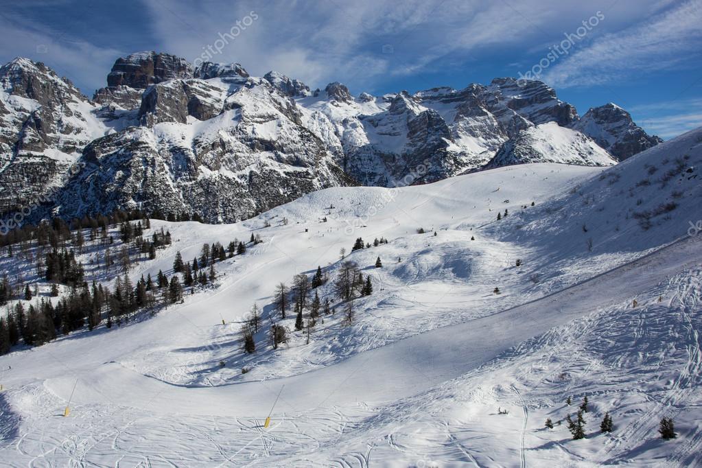 Snowy ski slopes in mountains