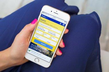 RIGA, LATVIA - SEPTEMBER 8, 2016: Booking.com website on smartphone.