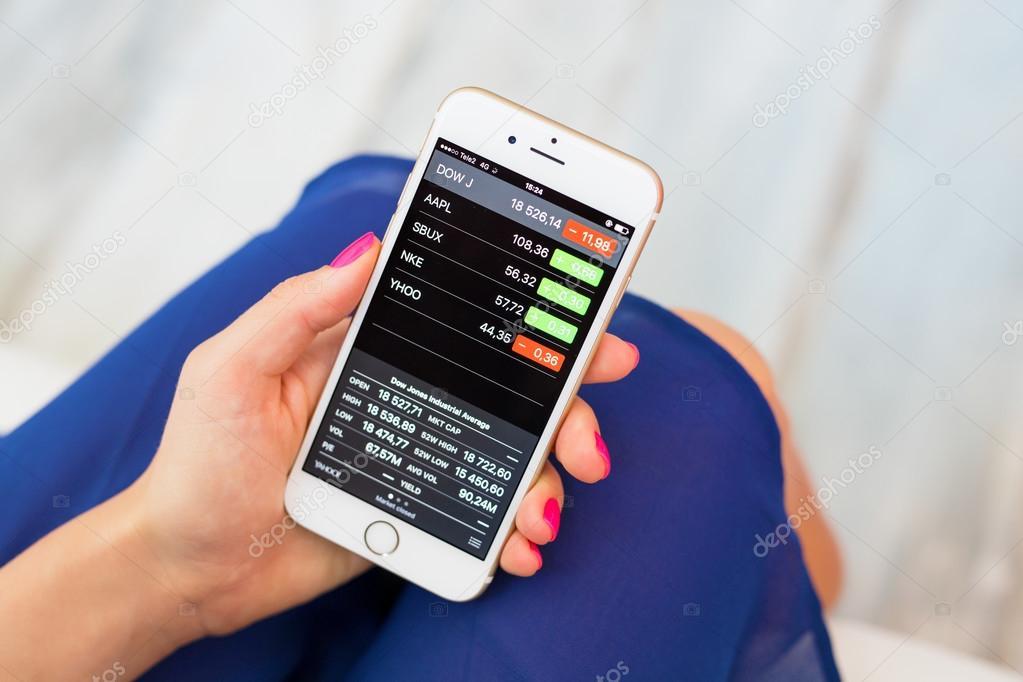 riga latvia september 8 2016 apple stocks app on iphone lets