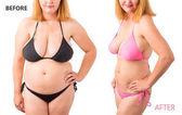 Frau im Bikini posiert vor und nach Gewichtsverlust