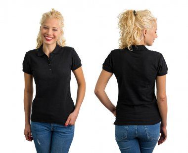 Woman in black polo T-shirt