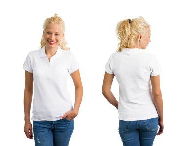 Woman in white polo T-shirt