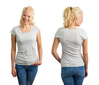 Woman in grey round neck T-shirt
