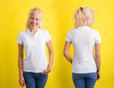 Woman in white polo T-shirt on yellow background