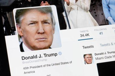 RIGA, LATVIA - February 02, 2017: President of United States of America Donald Trump Twitter  profile.