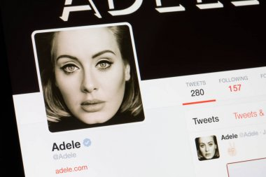 RIGA, LATVIA - February 02, 2017: Worldwide star Adele's Twitter profile.