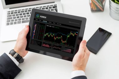 Person using Forex trading software