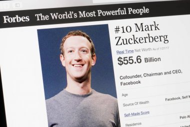 RIGA, LATVIA - February 24, 2017: Forbes Magazine list of The Worlds Most Powerful People.Number 10  the cofounder and CEO of Facebook Mark Zukenberg.