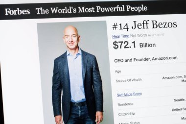 RIGA, LATVIA - February 24, 2017: Forbes Magazine list of The Worlds Most Powerful People.Number 14 CEO and founder of Amazon.com Jeff Bezos.