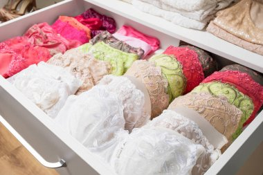 Woman's bras in drawer